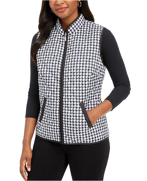 Karen Scott Petite Houndstooth Vest, Created For Macy's
