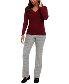 Charter Club V-Neck Cashmere Sweater & Houndstooth Trousers, Created for Macy's
