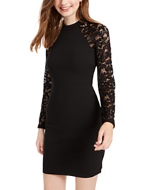 Sequin Hearts Juniors' Open-Back Lace-Sleeve Bodycon Dress