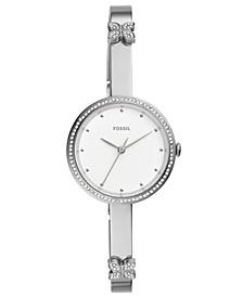 Women's Maxine Crystal Butterfly Stainless Steel Bangle Bracelet Watch 30mm