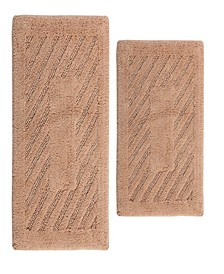 "Diagonal Racetrack 21"" x 34"" and 24"" x 40"" 2-Pc. Bath Rug Set"