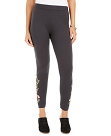 Style & Co Embroidered Pull-On Leggings, Created for Macy's
