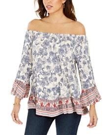 Style & Co Mixed-Print Off-The-Shoulder Top, Created for Macy's