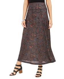 Style & Co Printed Pull-On Maxi Skirt, Created for Macy's