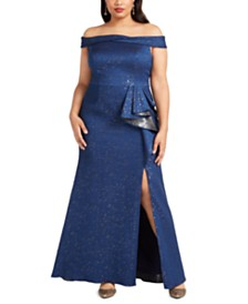 Adrianna Papell Plus Size Off-The-Shoulder Metallic Gown