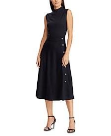 Sleeveless Button-Trim Ponte Dress