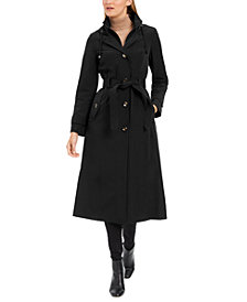 London Fog Maxi Single Breasted Water-Resistant Hooded Raincoat