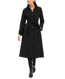 London Fog Petite Double-Breasted Maxi Raincoat