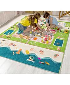 Beach Houses 3D  Kids Play Rug