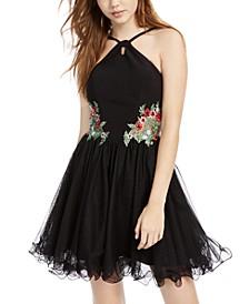 Juniors' Floral-Appliqué Mesh Fit & Flare Dress