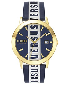 Men's Blue Logo Leather Strap Watch 44mm