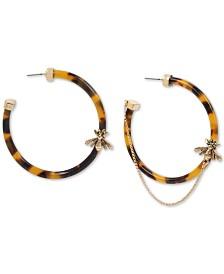"Betsey Johnson Large Gold-Tone Bug Charm Tortoise-Look Hoop Earrings 2-1/3"""