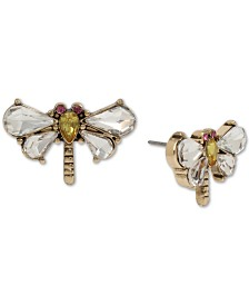 Betsey Johnson Gold-Tone Crystal Dragonfly Stud Earrings