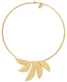 """Gold-Tone Sculptural Fan Wire 17"""" Statement Necklace"""
