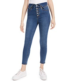 Flipped-Waistband Skinny Jeans
