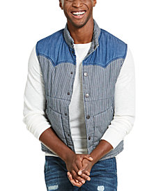 American Rag Men's Quilted Colorblocked Vest, Created For Macy's