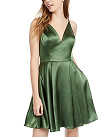 Juniors' Lace-Up-Back Satin Fit & Flare Dress