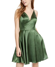 Blondie Nites Juniors' Lace-Up-Back Satin Fit & Flare Dress