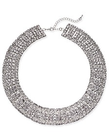 "Silver-Tone Crystal Collar Necklace, 18"" + 3"" extender, Created For Macy's"