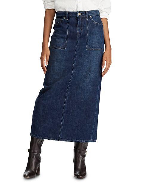 Lauren Ralph Lauren Petite Cotton Denim Maxiskirt