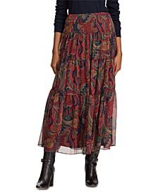 Petite Paisley-Print Georgette Tiered Peasant Skirt