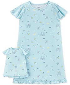 Toddler Girls 2-Pc. Princess-Print Nightgown & Doll Nightgown Set