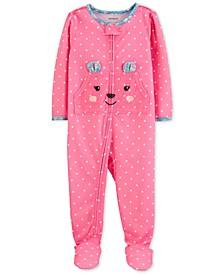 Baby Girls Footed Polka-Dot Bear Pajamas