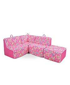 Kangaroo Trading Co. Kid's 4 Piece Foam Sectional, Daisy Doodle