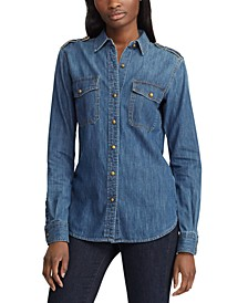 Petite Cotton Denim Button-Down Shirt