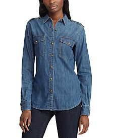 Lauren Ralph Lauren Petite Cotton Denim Button-Down Shirt