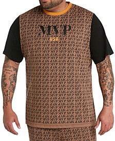 MVP Collections Men's Big & Tall MVP All-Over Print Logo Tee