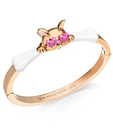 Pavé Heart-Glasses Cat Bangle Bracelet