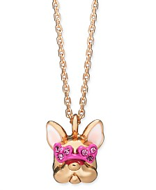 """Kate Spade New York Heart Glasses Frenchie 17"""" Pendant Necklace"""
