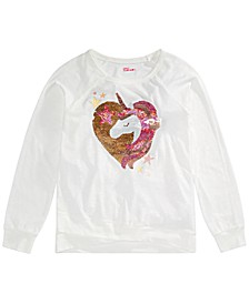 Big Girls Flip Sequin Unicorn Top, Created For Macy's
