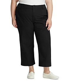 Plus Size Cotton Twill Straight Pants