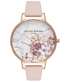 Women's Nude Peach Leather Strap Watch 38mm