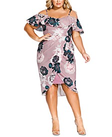 Trendy Plus Size Ruffled Off-The-Shoulder Dress