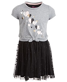 Little Girls Hearts Tie-Front Dress, Created for Macy's