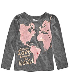 Toddler Girls Glitter Love World T-Shirt, Created for Macy's