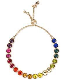 Gold-Tone Crystal Rainbow Bolo Bracelet