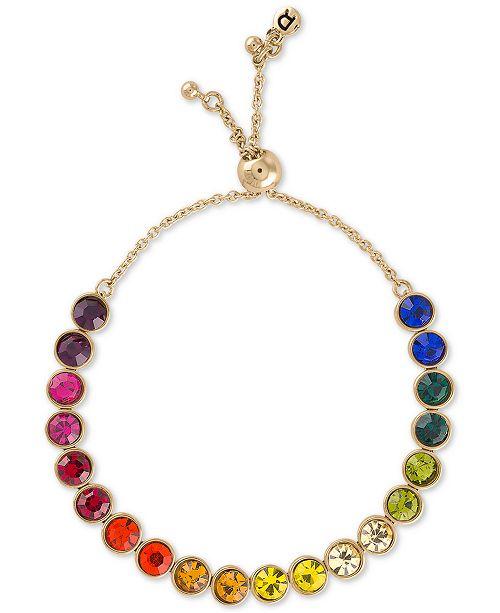 RACHEL Rachel Roy Gold-Tone Crystal Rainbow Bolo Bracelet