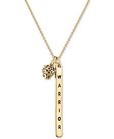 "RACHEL Rachel Roy Gold-Tone Warrior & Leopard Pendant Necklace, 20"" + 2"" extender"