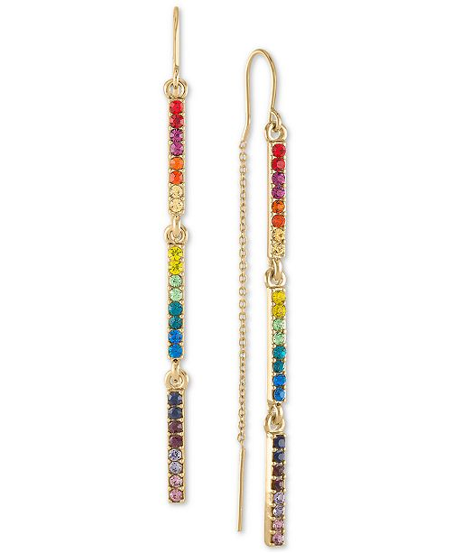 RACHEL Rachel Roy Gold-Tone Crystal Rainbow Threader Earrings
