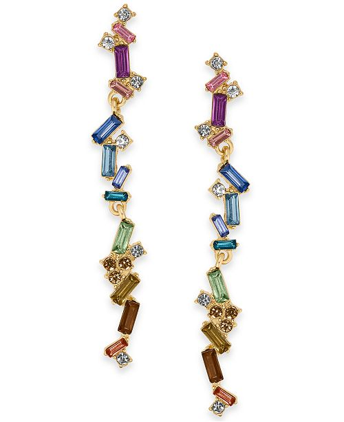 INC International Concepts INC Gold-Tone Multi-Stone Linear Drop Earrings, Created For Macy's