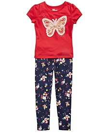 Little Girls Butterfly T-Shirt & Floral-Print Leggings, Created for Macy's