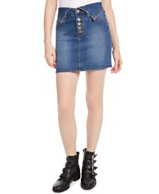 Kendall + Kylie Flipped-Waistband Denim Skirt