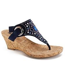 White Mountain Adeline Embellished Wedge Sandals