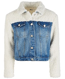 Big Girls Faux Sherpa Denim Jacket, Created for Macy's