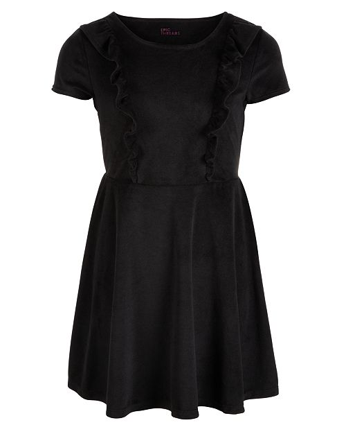 Epic Threads Big Girls Ruffle-Trim Velvet Dress, Created for Macy's