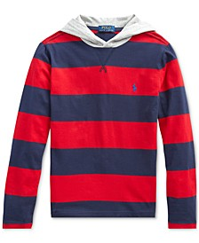 Big Boys Navy Stripes Hooded T-Shirt